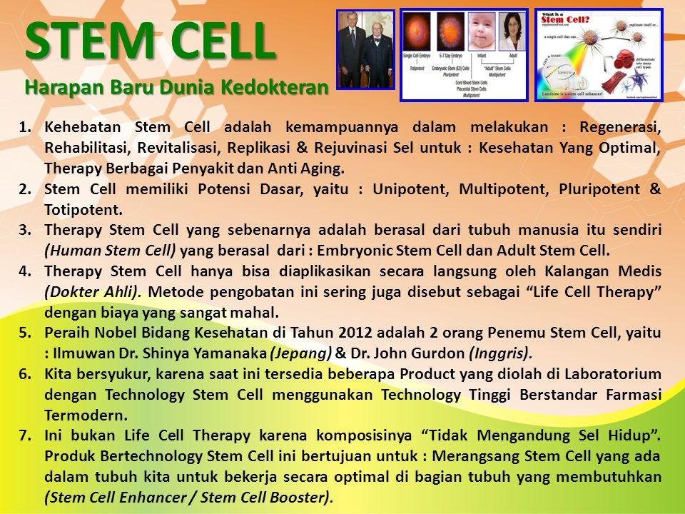 STEM CELL Harapan Baru Dunia Kedokteran 1.Kehebatan Stem Cell adalah kemampuannya dalam melakukan : Regenerasi, Rehabilitasi, Revitalisasi, Replikasi