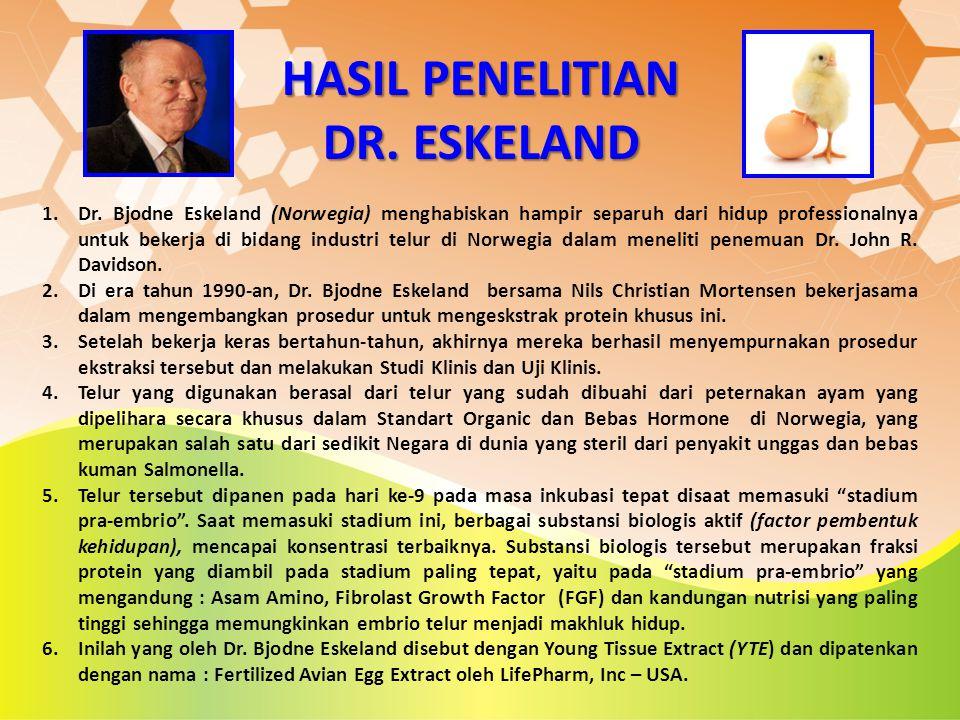 HASIL PENELITIAN DR. ESKELAND 1.Dr. Bjodne Eskeland (Norwegia) menghabiskan hampir separuh dari hidup professionalnya untuk bekerja di bidang industri