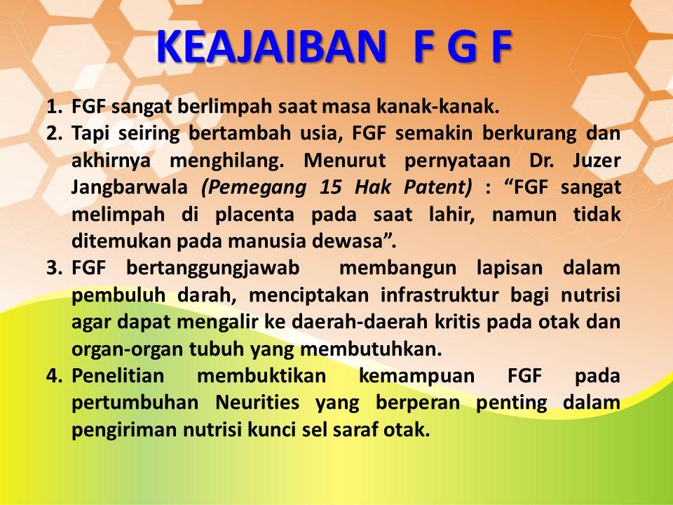 KEAJAIBAN F G F 1.FGF sangat berlimpah saat masa kanak-kanak. 2.Tapi seiring bertambah usia, FGF semakin berkurang dan akhirnya menghilang. Menurut pe