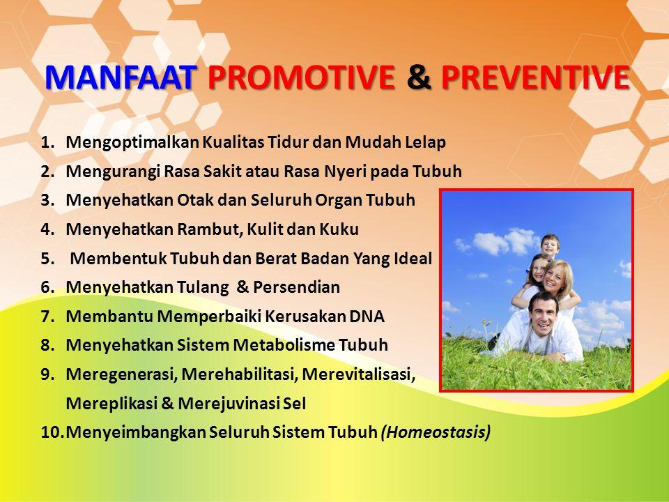 MANFAAT PROMOTIVE & PREVENTIVE 1.Mengoptimalkan Kualitas Tidur dan Mudah Lelap 2.Mengurangi Rasa Sakit atau Rasa Nyeri pada Tubuh 3.Menyehatkan Otak d