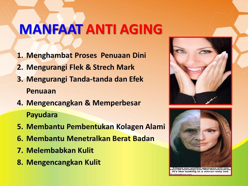 MANFAAT ANTI AGING 1.Menghambat Proses Penuaan Dini 2.Mengurangi Flek & Strech Mark 3.Mengurangi Tanda-tanda dan Efek Penuaan 4.Mengencangkan & Memper