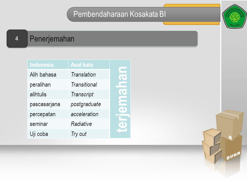 Pembendaharaan Kosakata BI IndonesiaAsal kata terjemahan Alih bahasa Translation peralihan Transitional alihtulis Transcript pascasarjana postgraduate