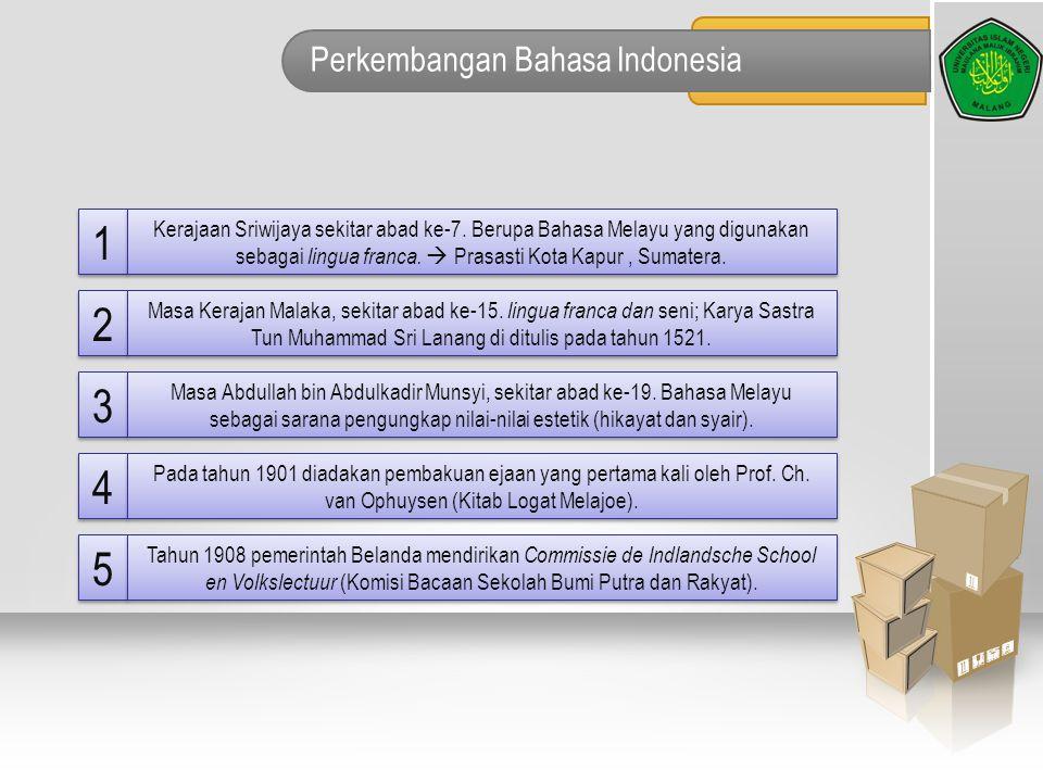 Perkembangan Bahasa Indonesia 1 1 Kerajaan Sriwijaya sekitar abad ke-7. Berupa Bahasa Melayu yang digunakan sebagai lingua franca.  Prasasti Kota Kap