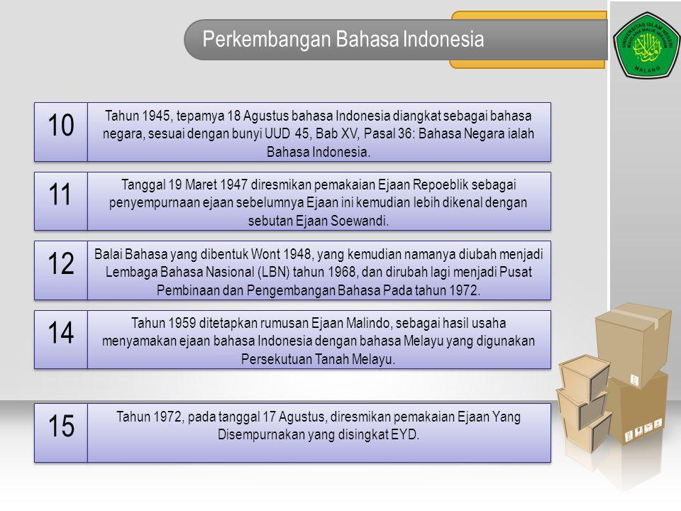 Perkembangan Bahasa Indonesia 10 Tahun 1945, tepamya 18 Agustus bahasa Indonesia diangkat sebagai bahasa negara, sesuai dengan bunyi UUD 45, Bab XV, P