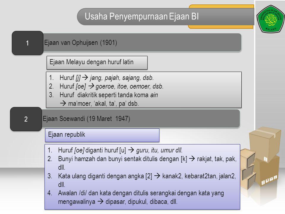 Usaha Penyempurnaan Ejaan BI Ejaan Melayu dengan huruf latin 1.Huruf [j]  jang, pajah, sajang, dsb. 2.Huruf [oe]  goeroe, itoe, oemoer, dsb. 3.Huruf