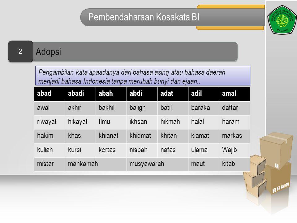 Pembendaharaan Kosakata BI Pengambilan kata apaadanya dari bahasa asing atau bahasa daerah menjadi bahasa Indonesia tanpa merubah bunyi dan ejaan.. ab
