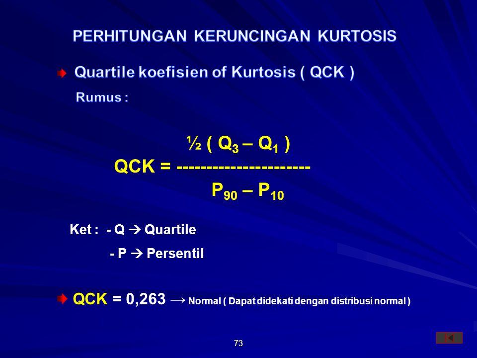 73 Ket : - Q  Quartile - P  Persentil