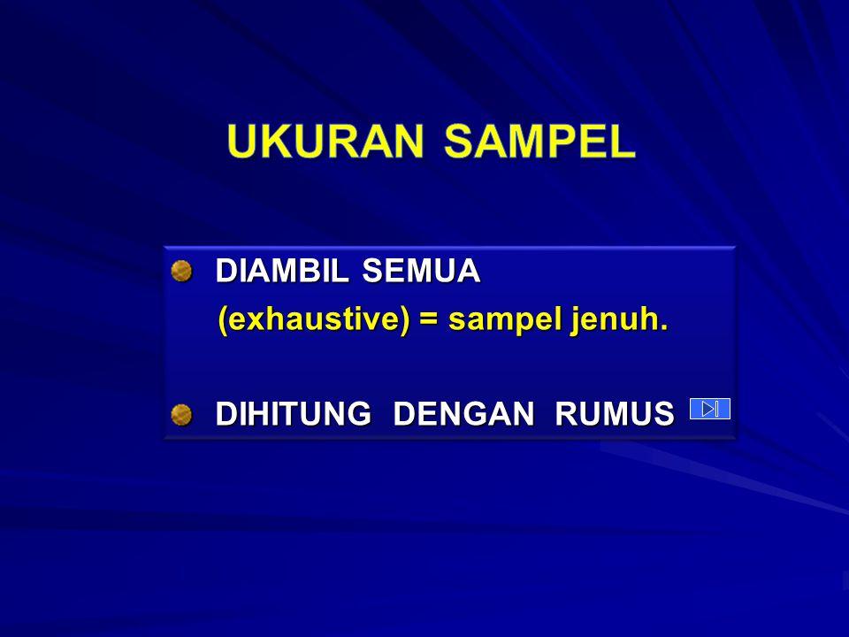 DIAMBIL SEMUA (exhaustive) = sampel jenuh.(exhaustive) = sampel jenuh.