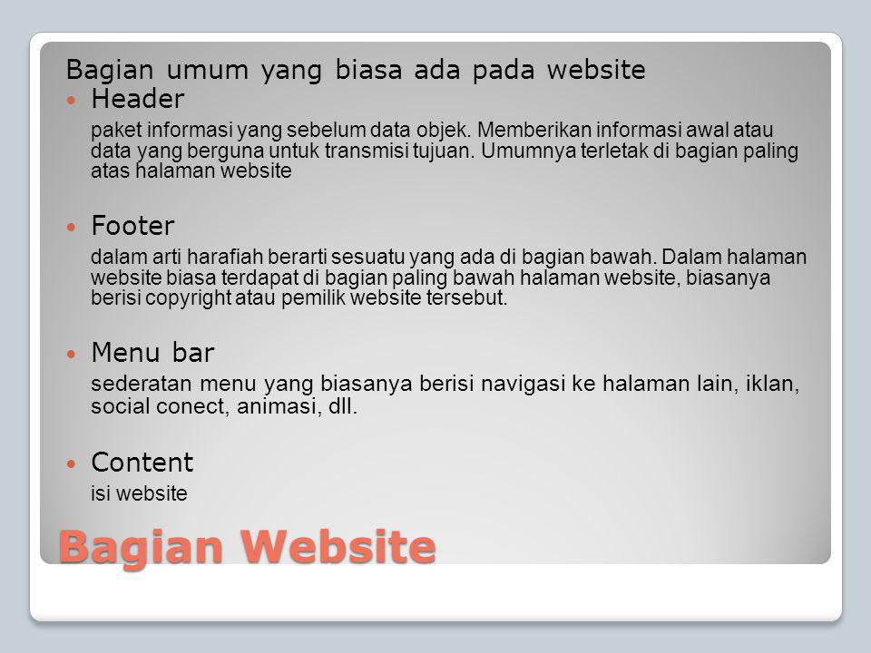 Bagian Website Bagian umum yang biasa ada pada website  Header paket informasi yang sebelum data objek.