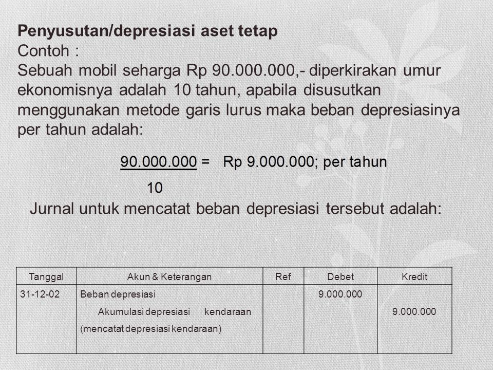 TanggalAkun & KeteranganRefDebetKredit 31-12-02Beban depresiasi Akumulasi depresiasi kendaraan (mencatat depresiasi kendaraan) 9.000.000 9.000.000 Pen