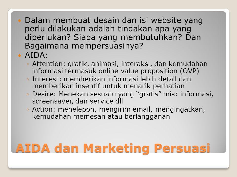 AIDA dan Marketing Persuasi  Dalam membuat desain dan isi website yang perlu dilakukan adalah tindakan apa yang diperlukan? Siapa yang membutuhkan? D