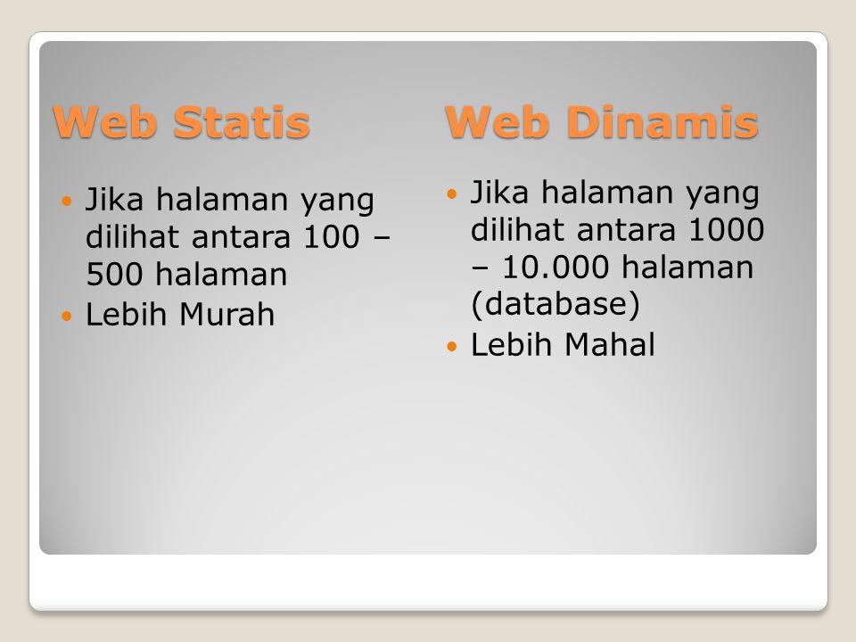 Web Dinamis  Jika halaman yang dilihat antara 100 – 500 halaman  Lebih Murah  Jika halaman yang dilihat antara 1000 – 10.000 halaman (database)  L