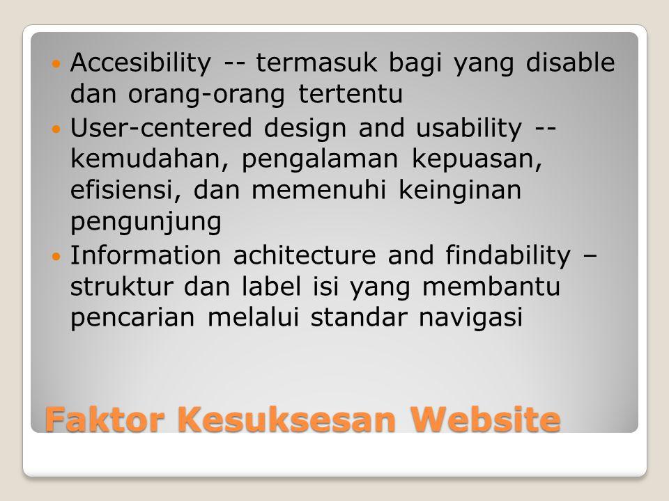Faktor Kesuksesan Website  Accesibility -- termasuk bagi yang disable dan orang-orang tertentu  User-centered design and usability -- kemudahan, pen
