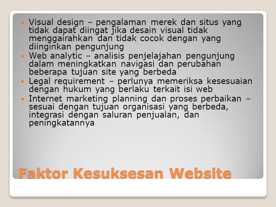 Faktor Kesuksesan Website  Visual design – pengalaman merek dan situs yang tidak dapat diingat jika desain visual tidak menggairahkan dan tidak cocok