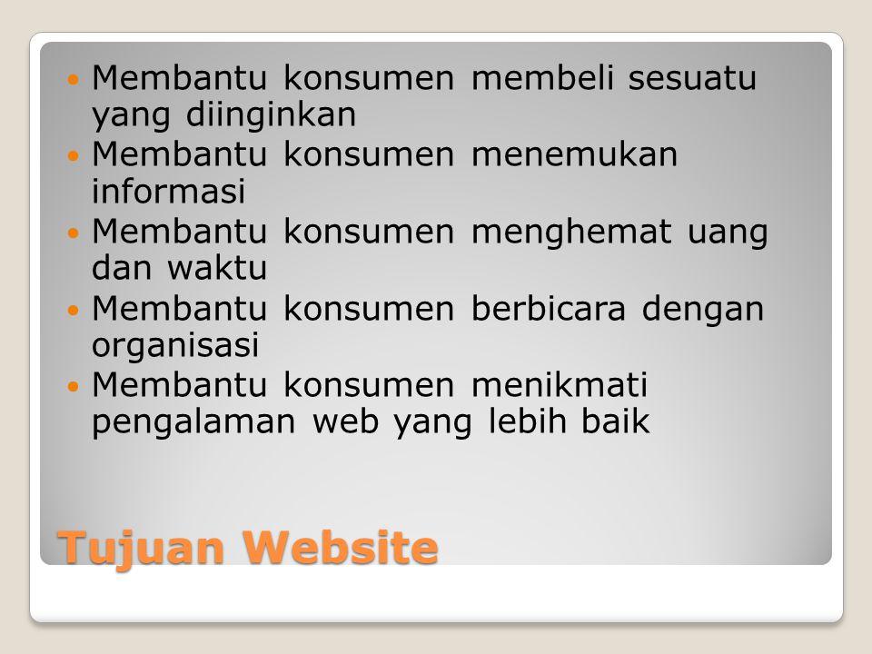 Tujuan Website  Membantu konsumen membeli sesuatu yang diinginkan  Membantu konsumen menemukan informasi  Membantu konsumen menghemat uang dan wakt