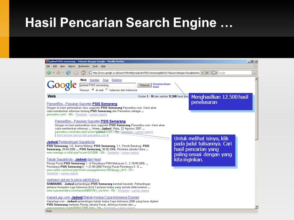 Hasil Pencarian Search Engine … Menghasilkan 12.500 hasil penelusuran Untuk melihat isinya, klik pada judul tulisannya.