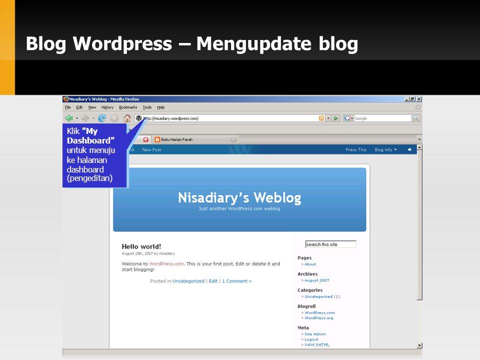 Blog Wordpress – Mengupdate blog Klik My Dashboard untuk menuju ke halaman dashboard (pengeditan)