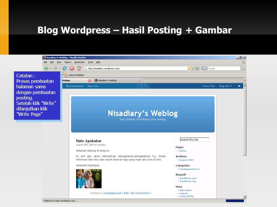 Blog Wordpress – Hasil Posting + Gambar Catatan : Proses pembuatan halaman sama dengan pembuatan posting.