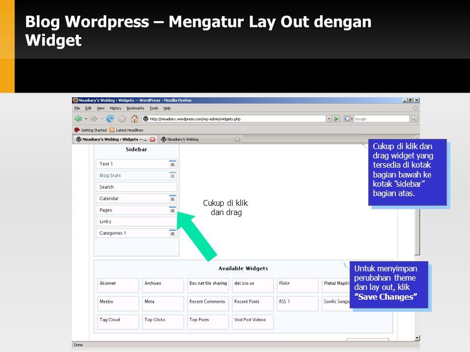 Blog Wordpress – Mengatur Lay Out dengan Widget Cukup di klik dan drag widget yang tersedia di kotak bagian bawah ke kotak sidebar bagian atas.