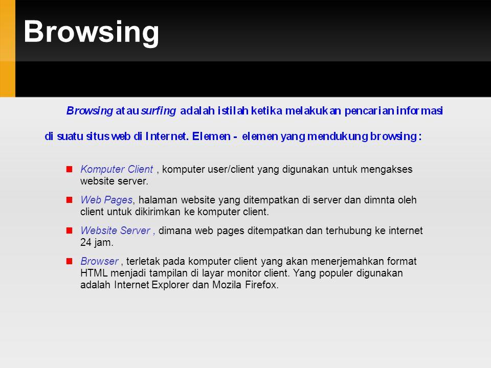 Browsing  Komputer Client, komputer user/client yang digunakan untuk mengakses website server.