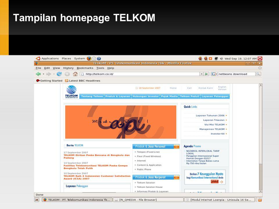 Tampilan homepage TELKOM