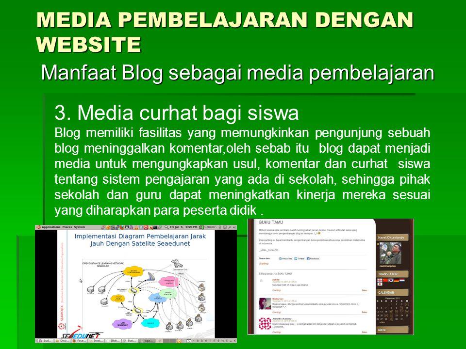 MEDIA PEMBELAJARAN DENGAN WEBSITE Manfaat Blog sebagai media pembelajaran Manfaat Blog sebagai media pembelajaran 3.