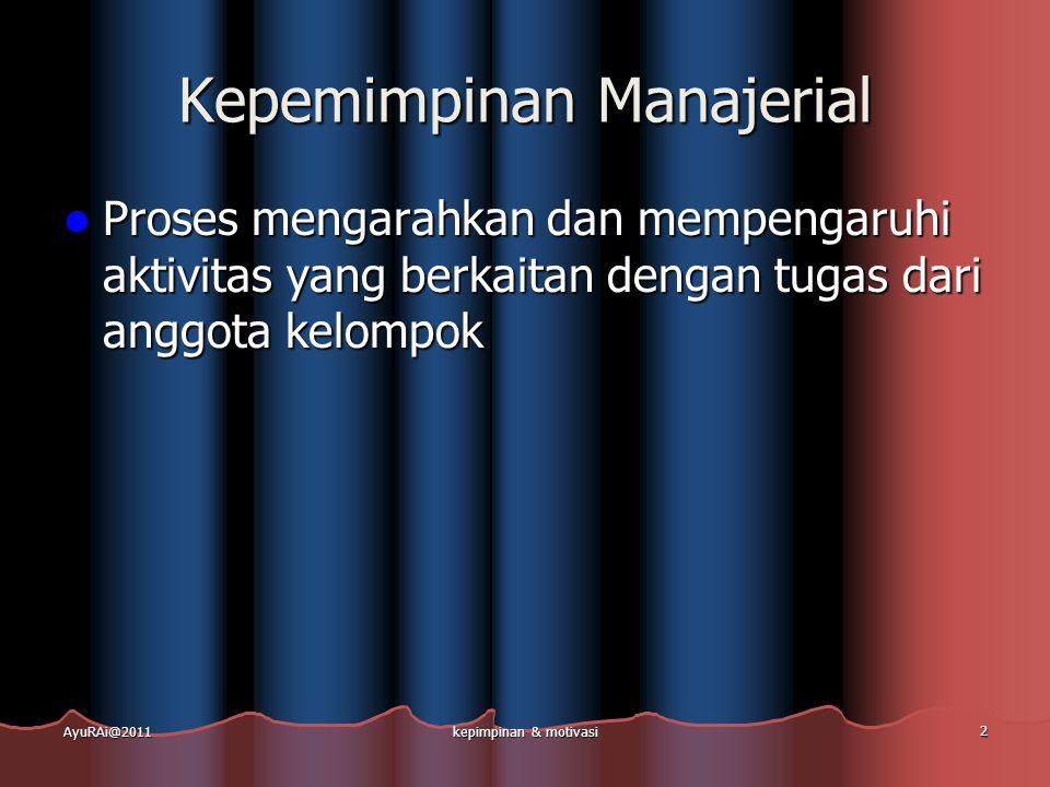 Kepemimpinan Manajerial  Proses mengarahkan dan mempengaruhi aktivitas yang berkaitan dengan tugas dari anggota kelompok AyuRAi@2011kepimpinan & moti