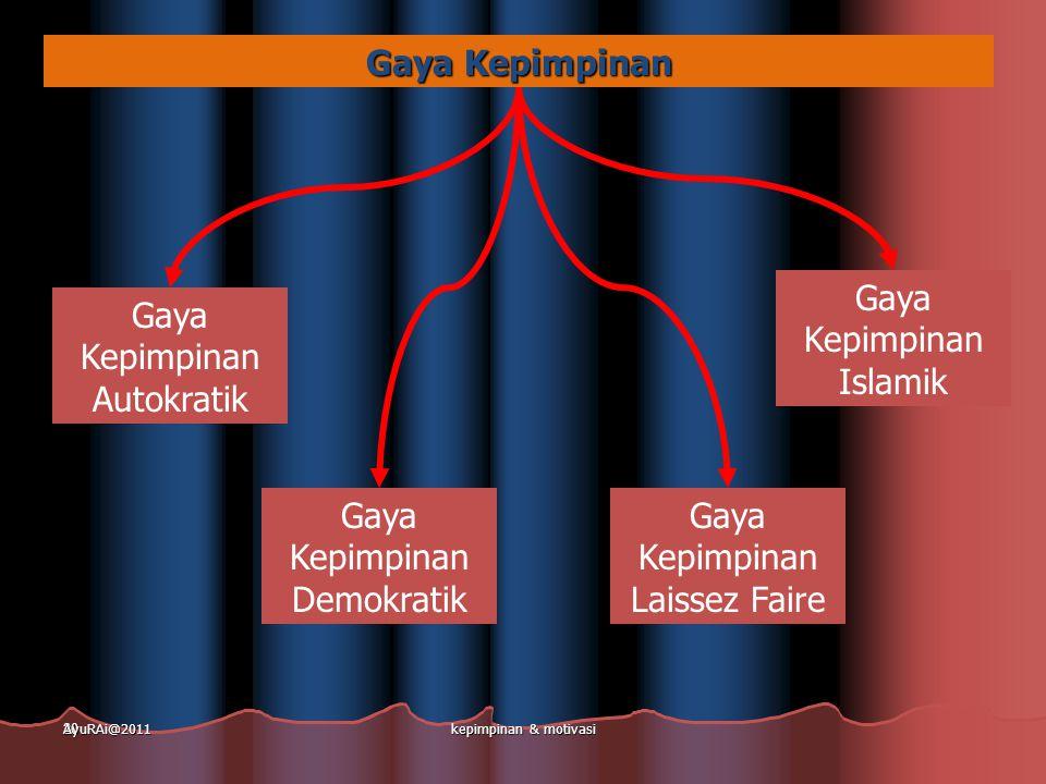 20 Gaya Kepimpinan Gaya Kepimpinan Autokratik Gaya Kepimpinan Demokratik Gaya Kepimpinan Laissez Faire Gaya Kepimpinan Islamik AyuRAi@2011kepimpinan &