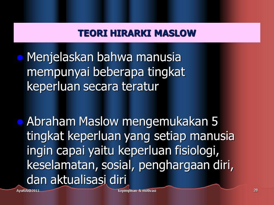 TEORI HIRARKI MASLOW  Menjelaskan bahwa manusia mempunyai beberapa tingkat keperluan secara teratur  Abraham Maslow mengemukakan 5 tingkat keperluan