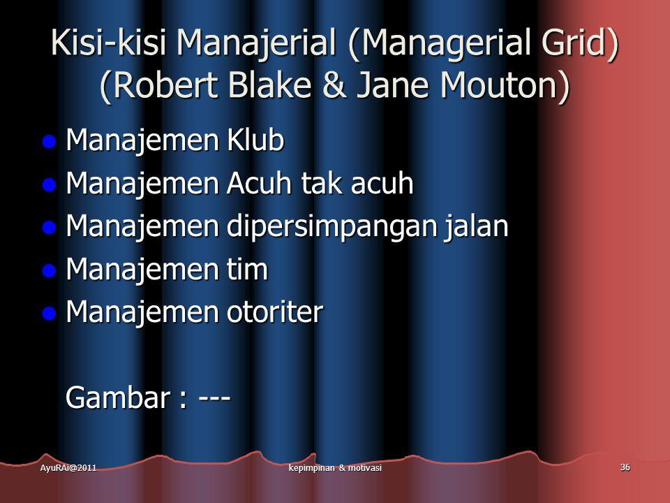Kisi-kisi Manajerial (Managerial Grid) (Robert Blake & Jane Mouton)  Manajemen Klub  Manajemen Acuh tak acuh  Manajemen dipersimpangan jalan  Mana
