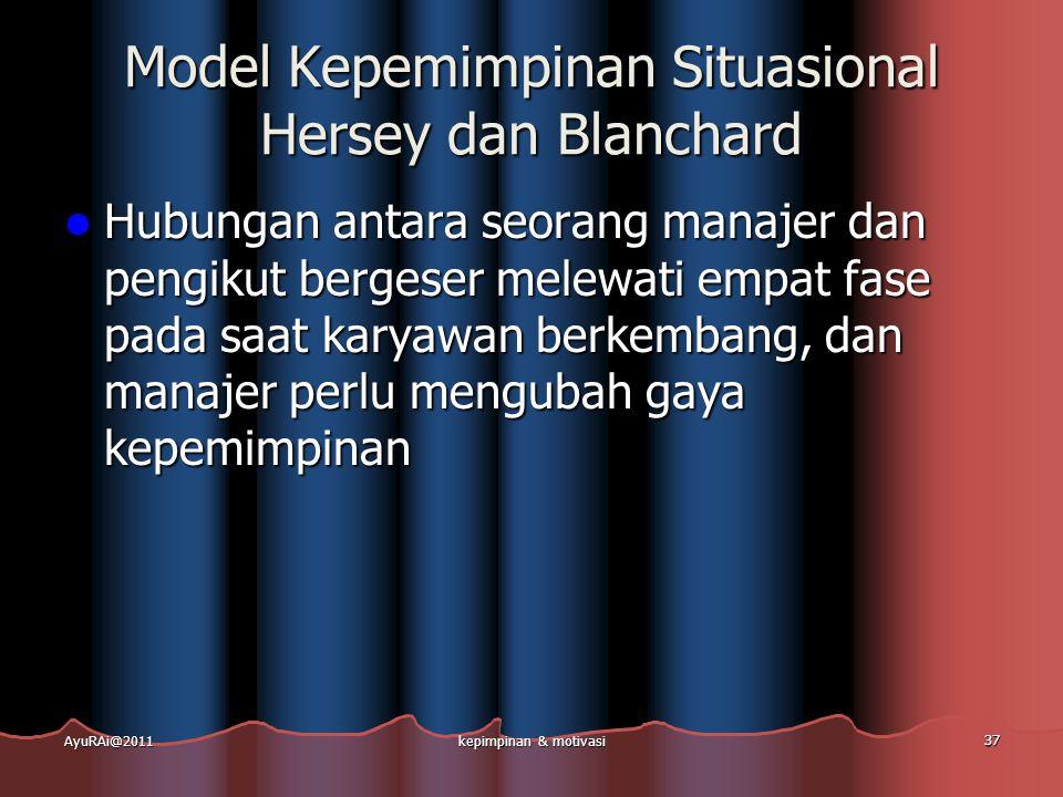 Model Kepemimpinan Situasional Hersey dan Blanchard  Hubungan antara seorang manajer dan pengikut bergeser melewati empat fase pada saat karyawan ber