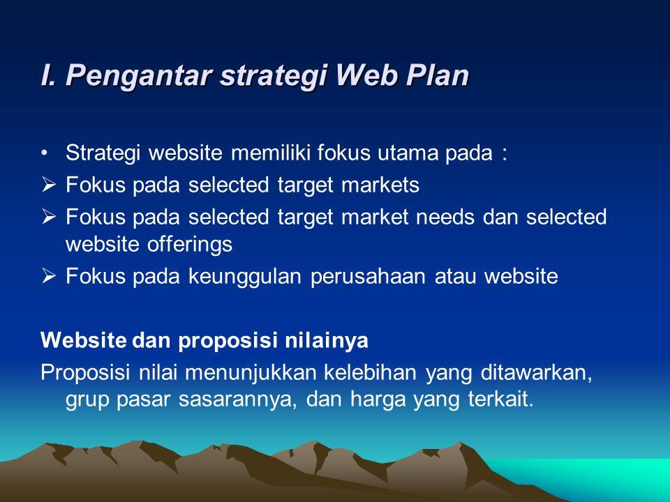 Proposisi nilai dan web plan •Landasan proporsi nilai digunakan untuk dikembangkan dan di implementasikan pada sebuah web plan yaitu : 1.Memahami proposisi nilai pada keseluruhan bagiannya, keuntungan atau keunggulan, konsumen sasaran dan tingkat harga.