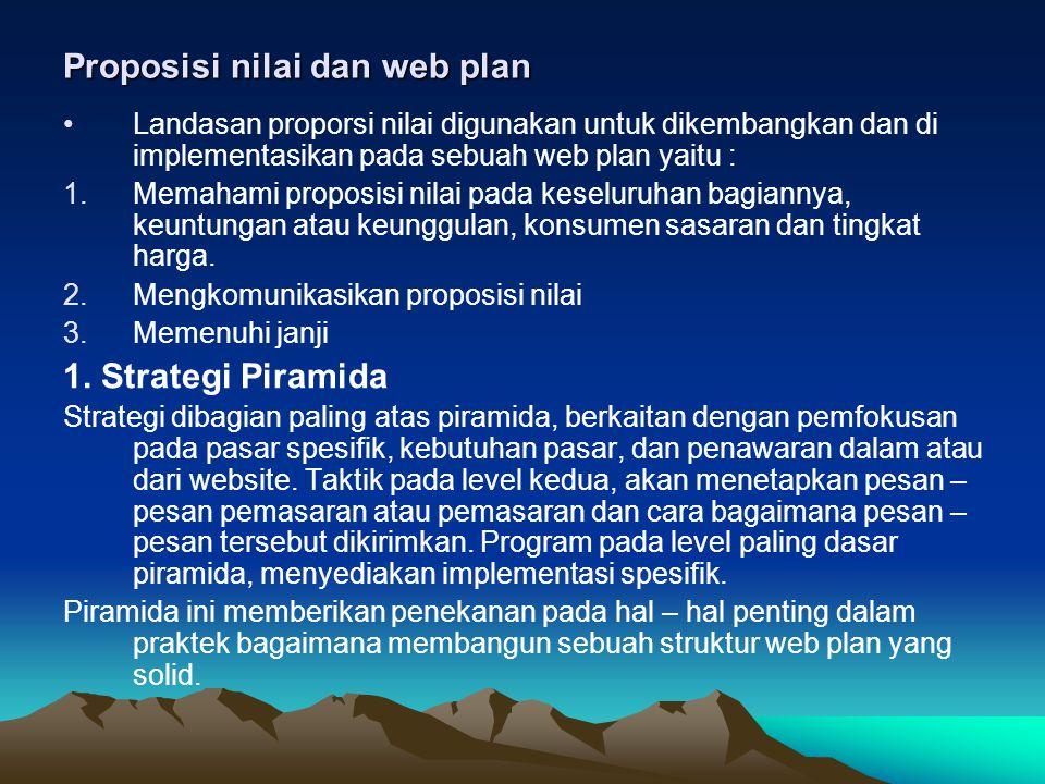 Proposisi nilai dan web plan •Landasan proporsi nilai digunakan untuk dikembangkan dan di implementasikan pada sebuah web plan yaitu : 1.Memahami prop