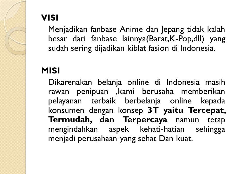 VISI Menjadikan fanbase Anime dan Jepang tidak kalah besar dari fanbase lainnya(Barat,K-Pop,dll) yang sudah sering dijadikan kiblat fasion di Indonesi