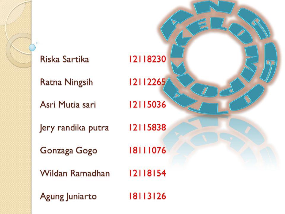 Riska Sartika 12118230 Ratna Ningsih 12112265 Asri Mutia sari 12115036 Jery randika putra 12115838 Gonzaga Gogo 18111076 Wildan Ramadhan 12118154 Agun