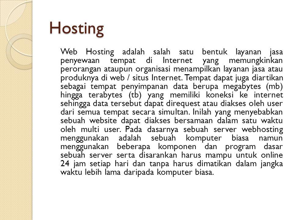 Hosting Web Hosting adalah salah satu bentuk layanan jasa penyewaan tempat di Internet yang memungkinkan perorangan ataupun organisasi menampilkan layanan jasa atau produknya di web / situs Internet.