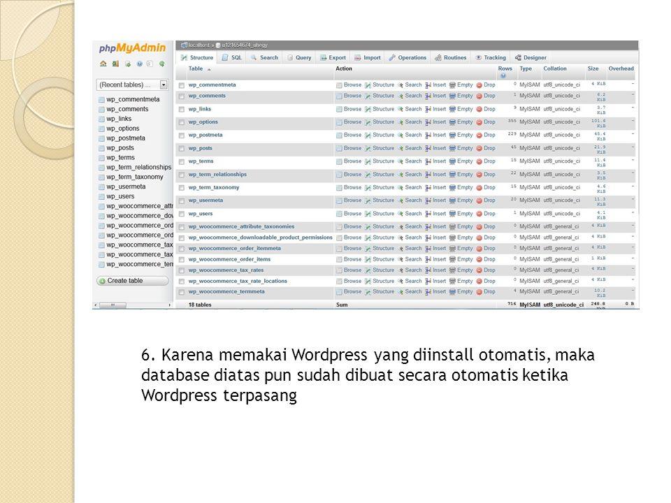 6. Karena memakai Wordpress yang diinstall otomatis, maka database diatas pun sudah dibuat secara otomatis ketika Wordpress terpasang