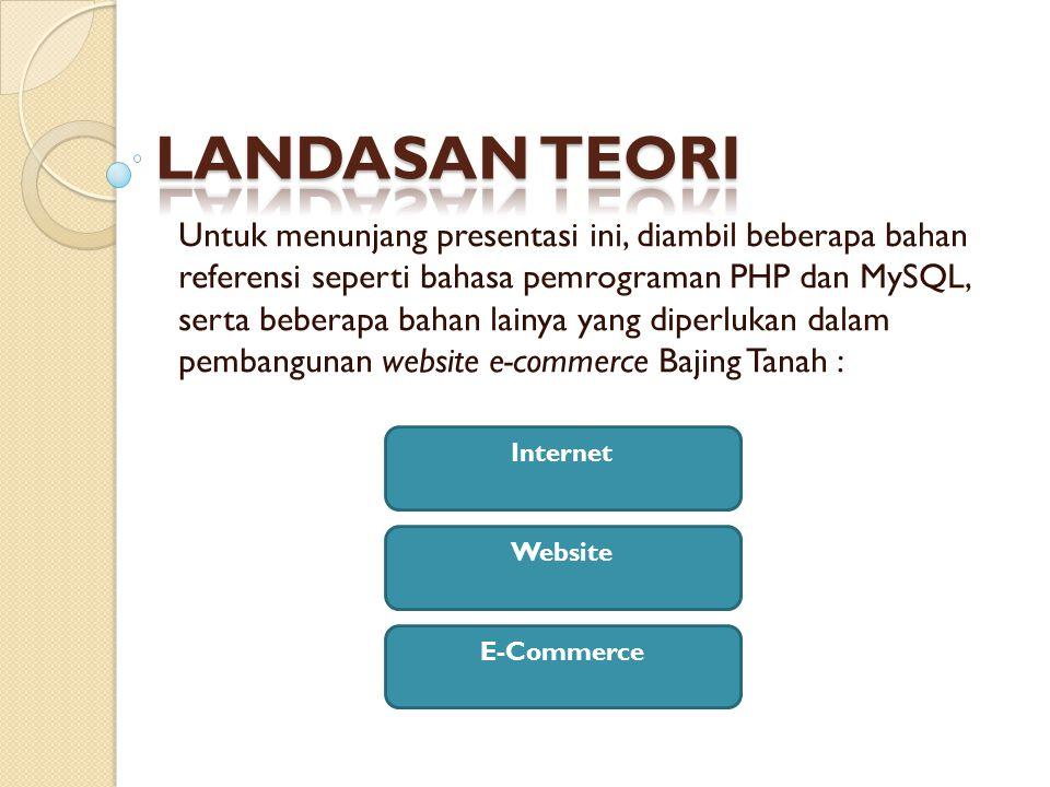 Untuk menunjang presentasi ini, diambil beberapa bahan referensi seperti bahasa pemrograman PHP dan MySQL, serta beberapa bahan lainya yang diperlukan dalam pembangunan website e-commerce Bajing Tanah : Internet Website E-Commerce