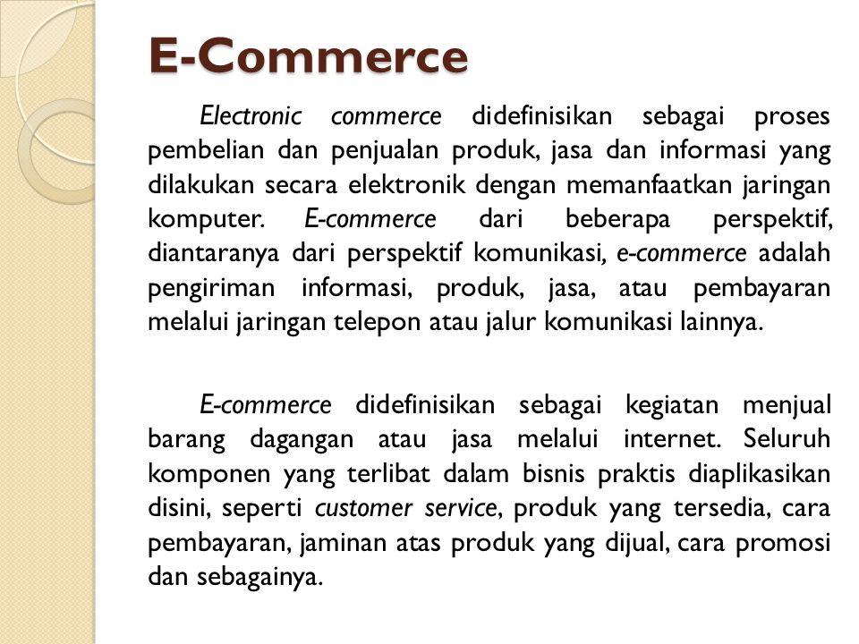 E-Commerce Electronic commerce didefinisikan sebagai proses pembelian dan penjualan produk, jasa dan informasi yang dilakukan secara elektronik dengan memanfaatkan jaringan komputer.