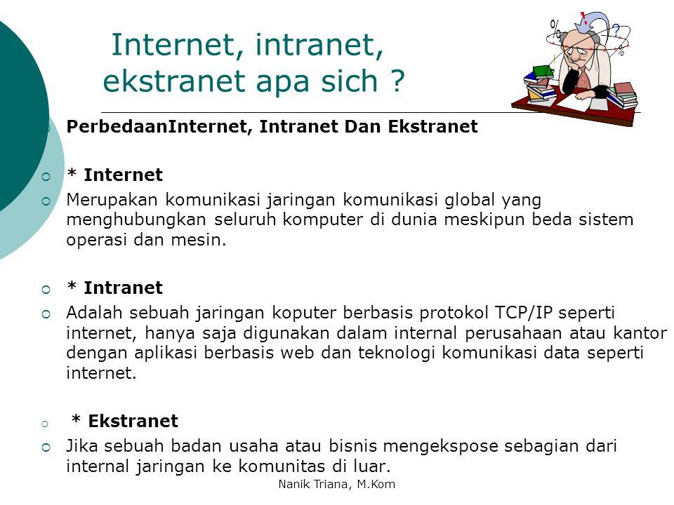 Internet apa sich ?  Internet ( Interconnected Network ) adalah sebuah jaringan komputer global, yang terdiri atas kumpulan-kumpulan jaringan kompute