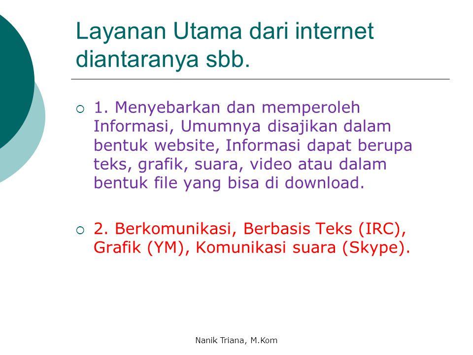 Layanan Utama dari internet diantaranya sbb. 1.