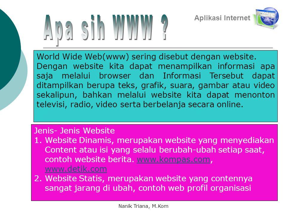 Aplikasi Internet World Wide Web(www) sering disebut dengan website.