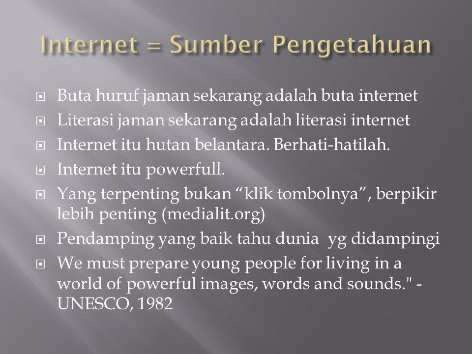  Buta huruf jaman sekarang adalah buta internet  Literasi jaman sekarang adalah literasi internet  Internet itu hutan belantara.