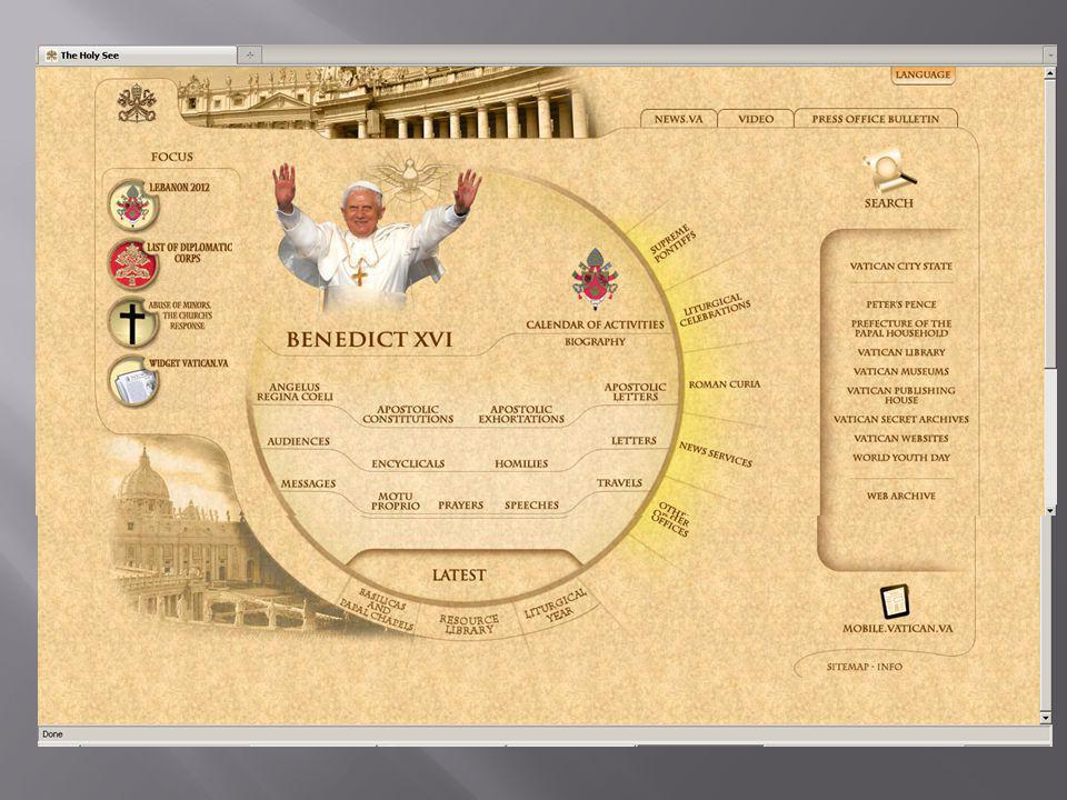  www.vatican.va www.vatican.va  Situs resmi Vatikan, pusat agama Katolik Roma se-dunia  www.youtube.com/vatican www.youtube.com/vatican  Kanal khusus berisi segala informasi dan aktivitas di Vatikan  www.catholiceducation.org www.catholiceducation.org  Mengklaim sebagai perpustakaan dan seumber informasi tentang ajaran, tradisi dan dogma Gereja Katolik terlengkap di internet  www.catholic.org www.catholic.org  Rubrik yang menarik adalah ensiklopedia Katolik A to Z