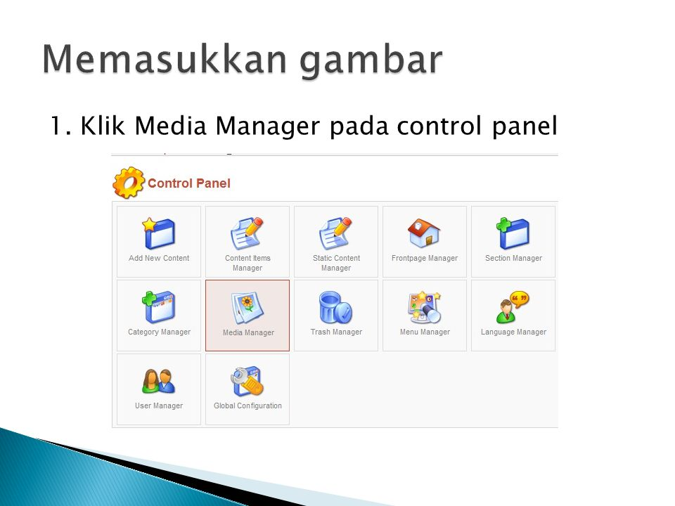 1. Klik Media Manager pada control panel