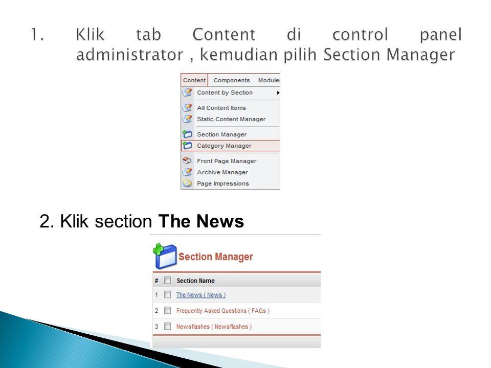 2. Klik section The News
