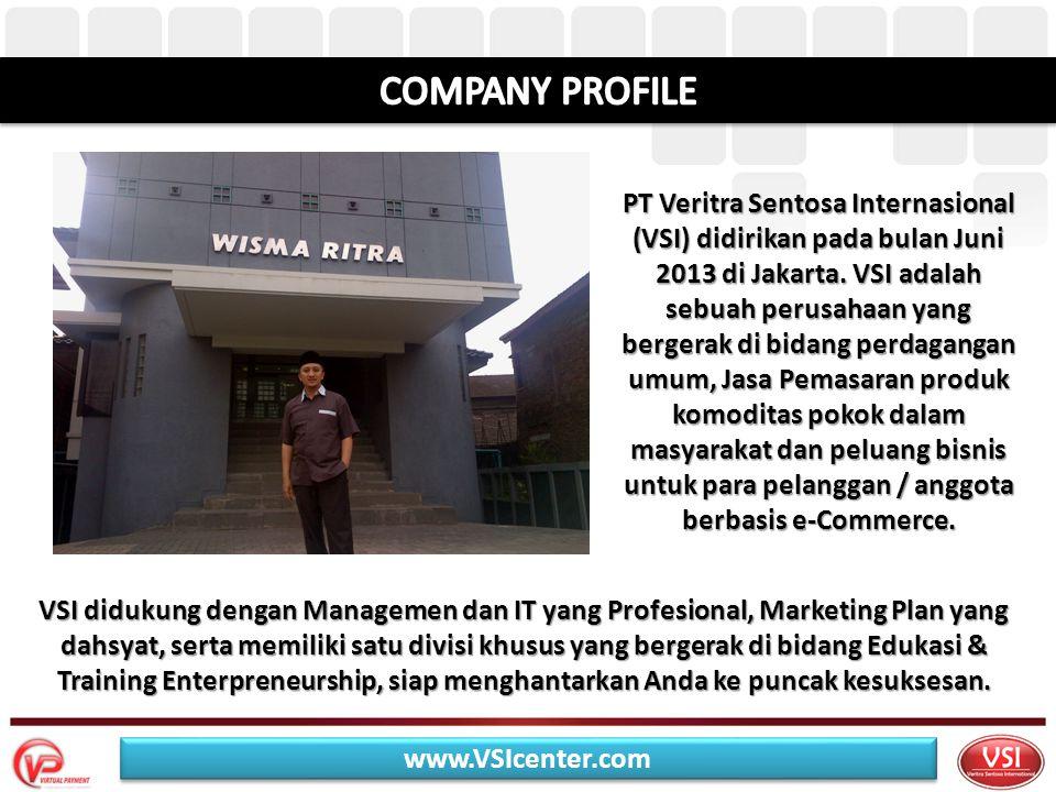 VSI didukung dengan Managemen dan IT yang Profesional, Marketing Plan yang dahsyat, serta memiliki satu divisi khusus yang bergerak di bidang Edukasi & Training Enterpreneurship, siap menghantarkan Anda ke puncak kesuksesan.