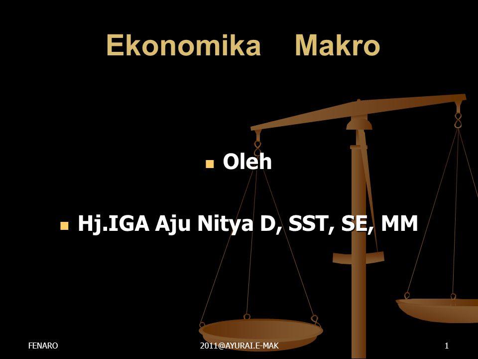 Ekonomika Makro Ekonomika Makro  Oleh  Hj.IGA Aju Nitya D, SST, SE, MM FENARO2011@AYURAI.E-MAK1
