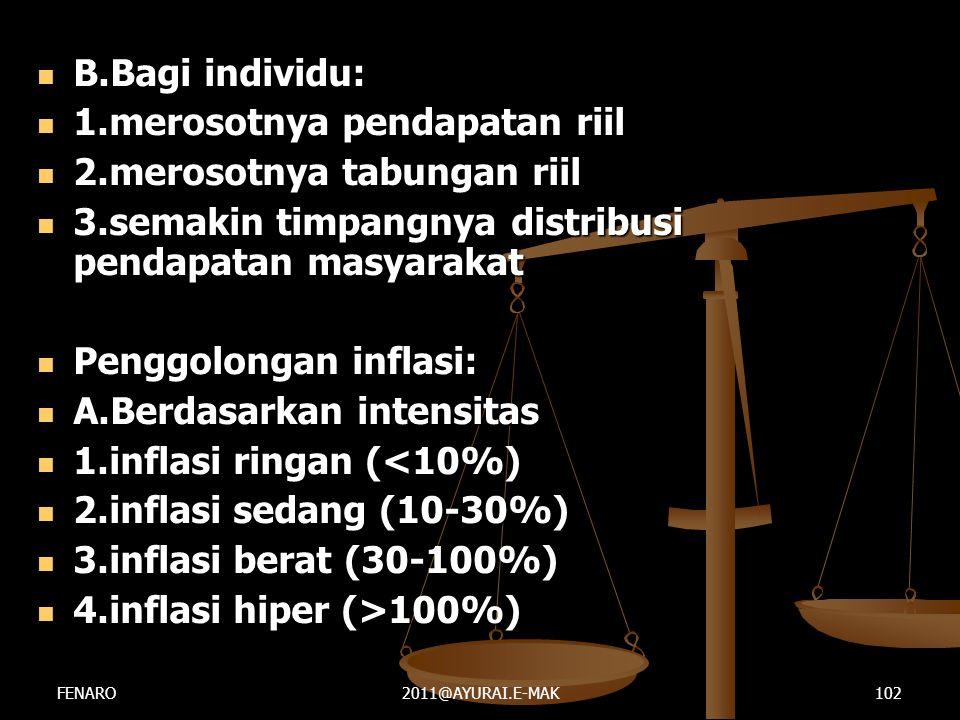  B.Bagi individu:  1.merosotnya pendapatan riil  2.merosotnya tabungan riil  3.semakin timpangnya distribusi pendapatan masyarakat  Penggolongan
