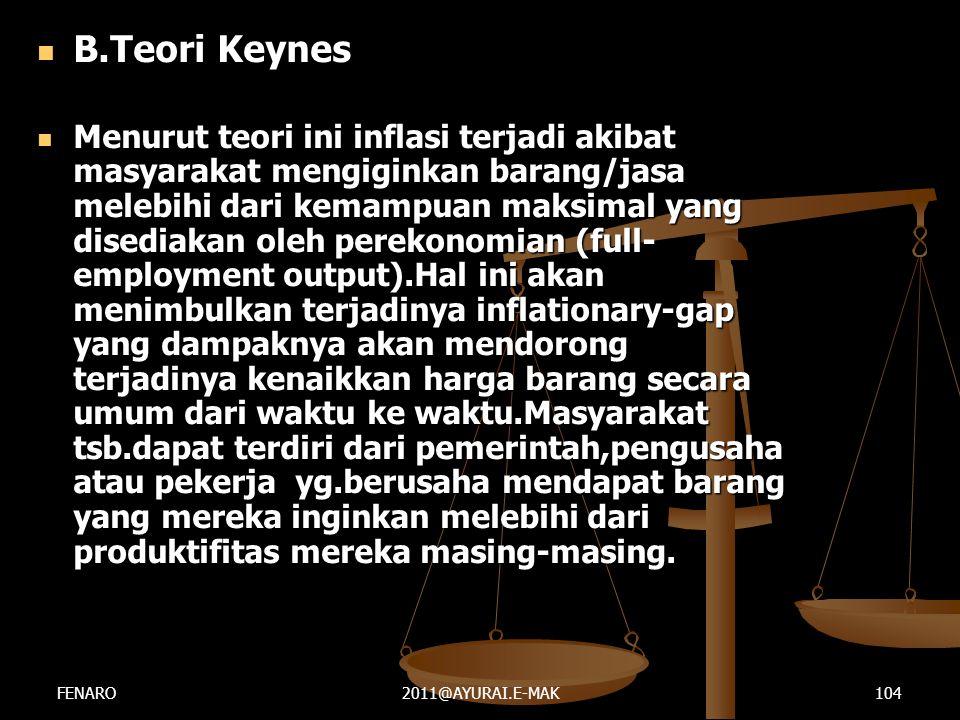  B.Teori Keynes  Menurut teori ini inflasi terjadi akibat masyarakat mengiginkan barang/jasa melebihi dari kemampuan maksimal yang disediakan oleh p